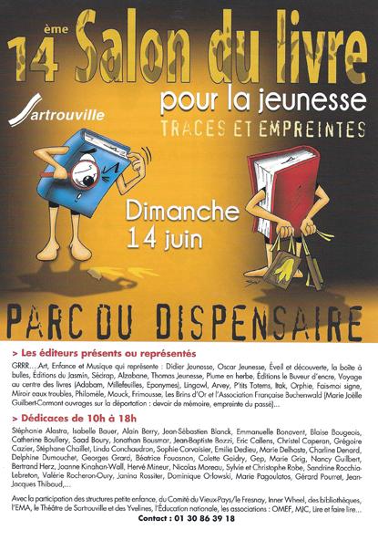 Flyer du Salon du livre de Sartrouville 2015